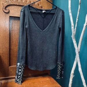 FREE PEOPLE Thermal Cuff Long Sleeve Top